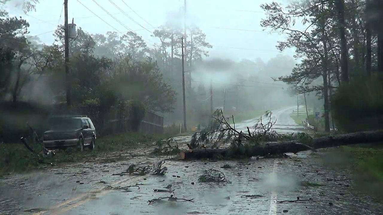 A tree blocks a road Friday in Wilmington in the midst of Hurricane Florence.