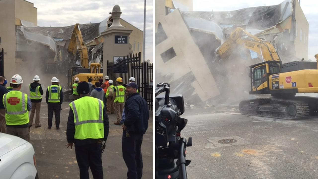The Finch-Yeager Building comes down to make way for a new, state-of-the-art facility (WTVD Photo/Jeff Hinkle)