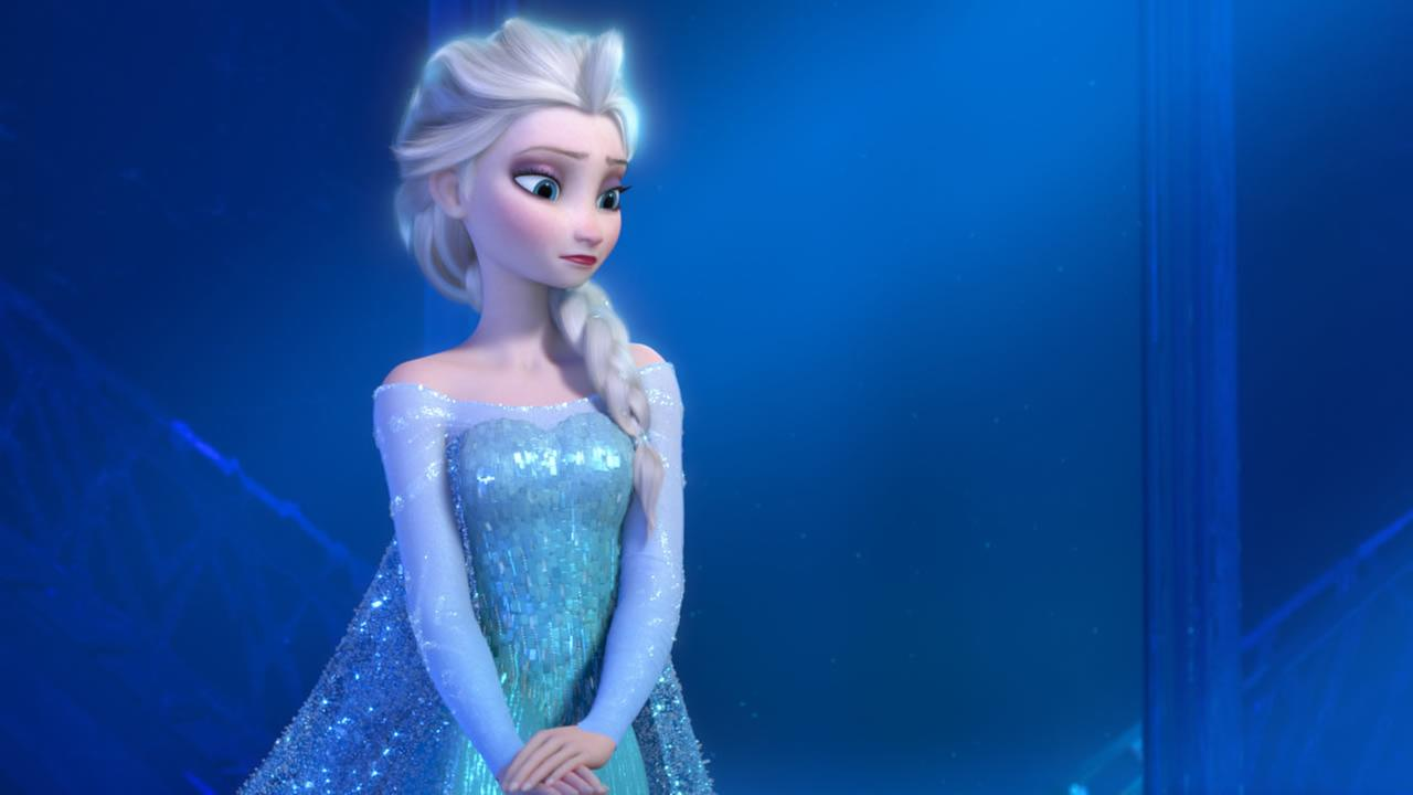 This image provided by Disney shows a teenage Elsa the Snow Queen, voiced by Idina Menzel, in a scene from the animated feature Frozen.