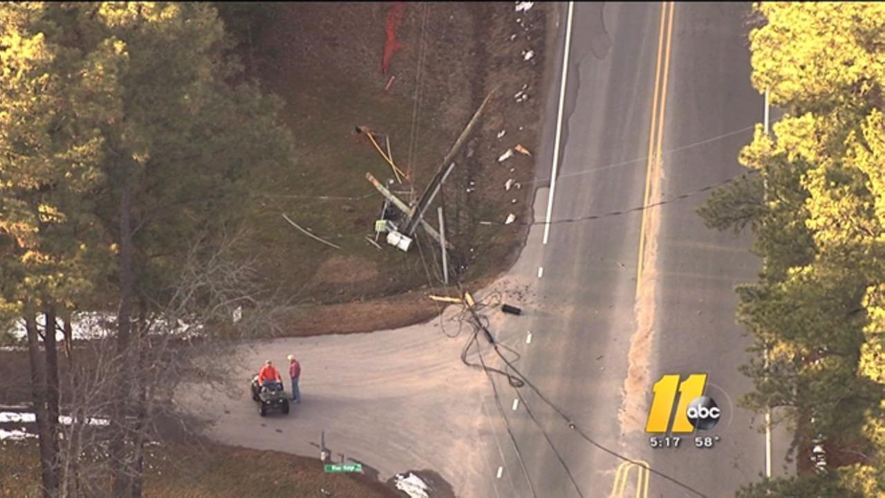 Power lines down near Ligon Mill Road in Raleigh