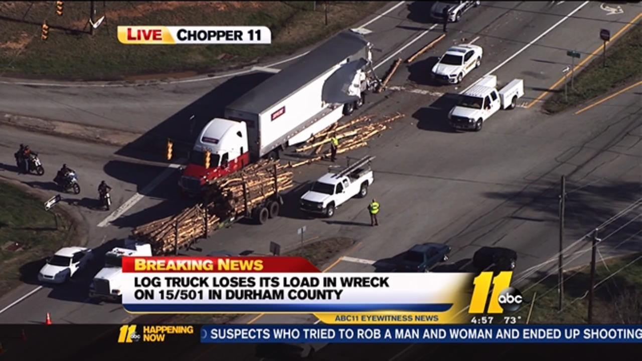 Log truck involved in Durham County wreck