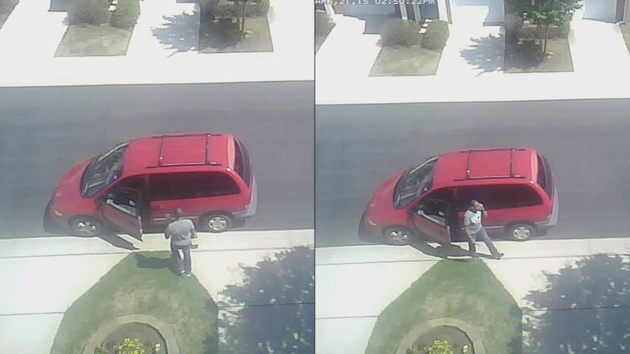Surveillance video of an alleged package thief in north Raleigh