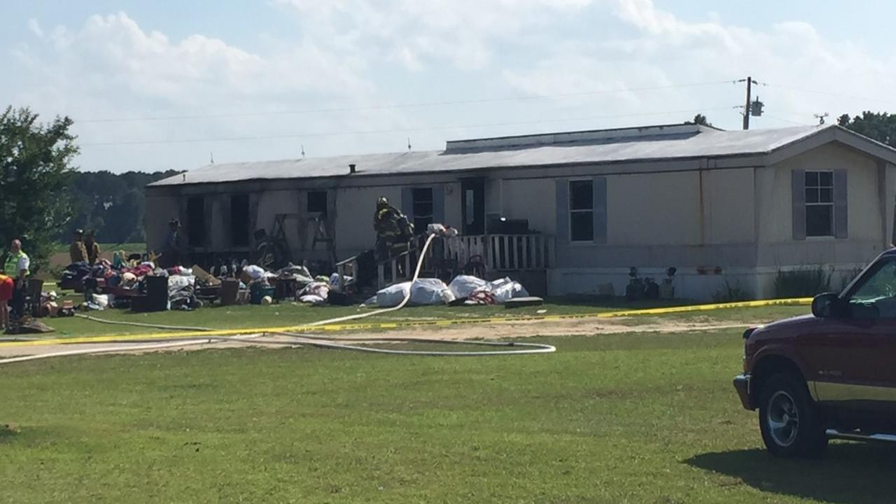 Mobile home destroyed by fire in Meadow, Johnston County.