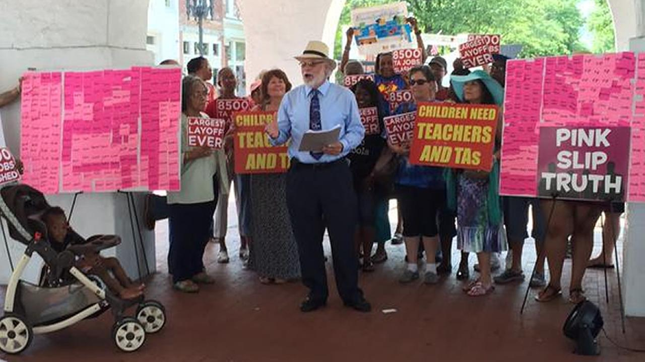 Fayetteville teaching assistant rally
