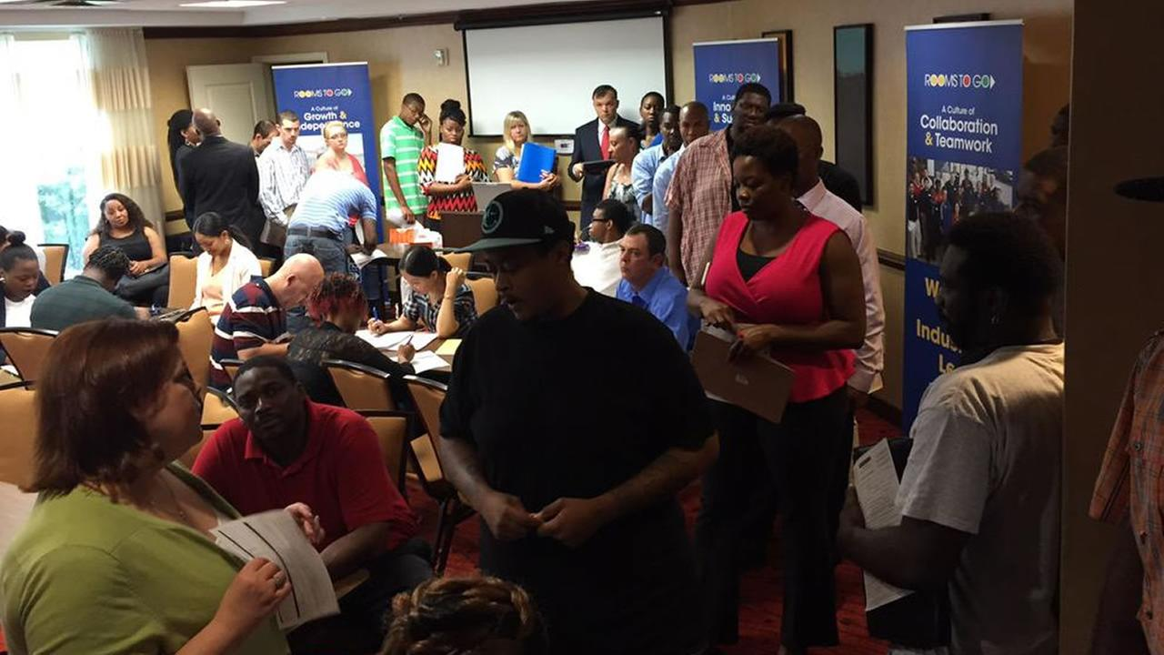 Job seekers at a Rooms To Go job fair in Fayetteville.