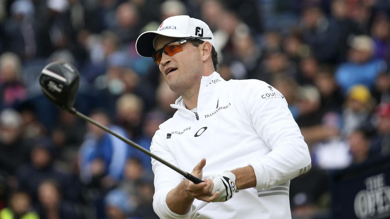 United States Zach Johnson drives a ball from the 17th tee during the final round at the British Open Golf Championship
