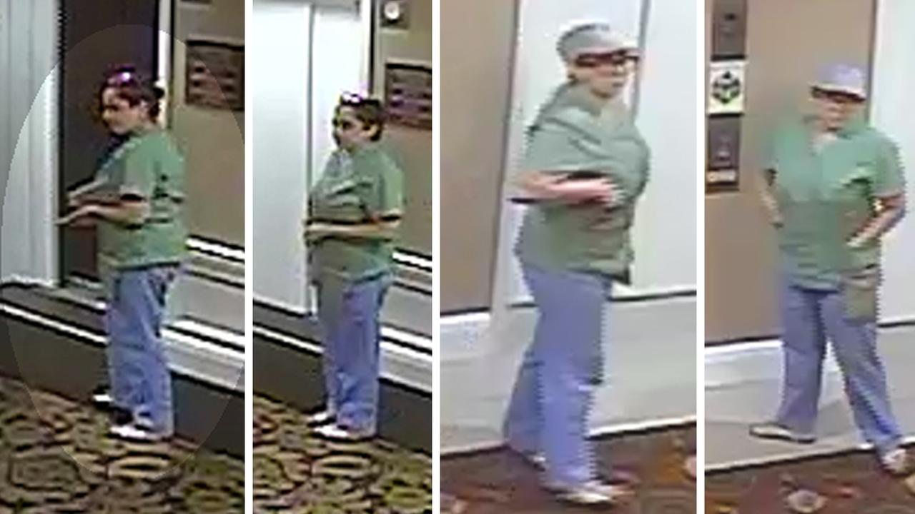 Surveillance video shows women dressed in medical scrubs coming into buildings to allegedly steal
