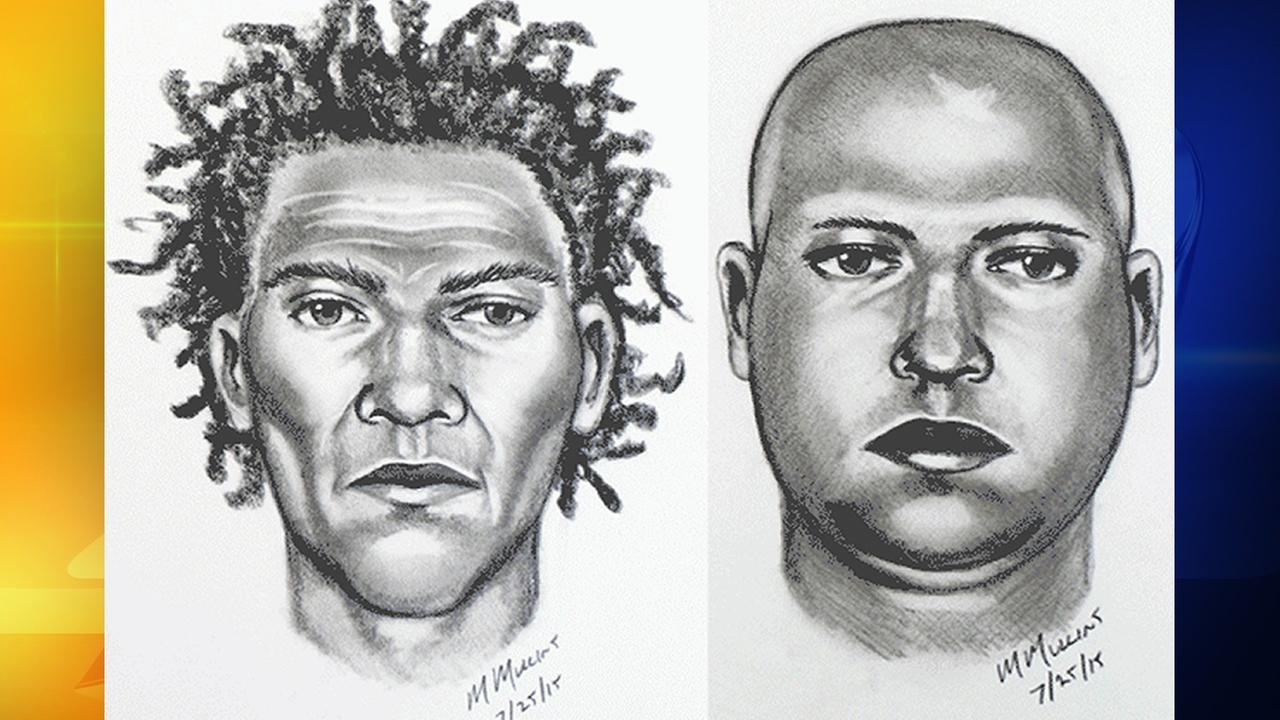 Sketch of Duke robbery suspects along Swift Avenue on July 24, 2015.
