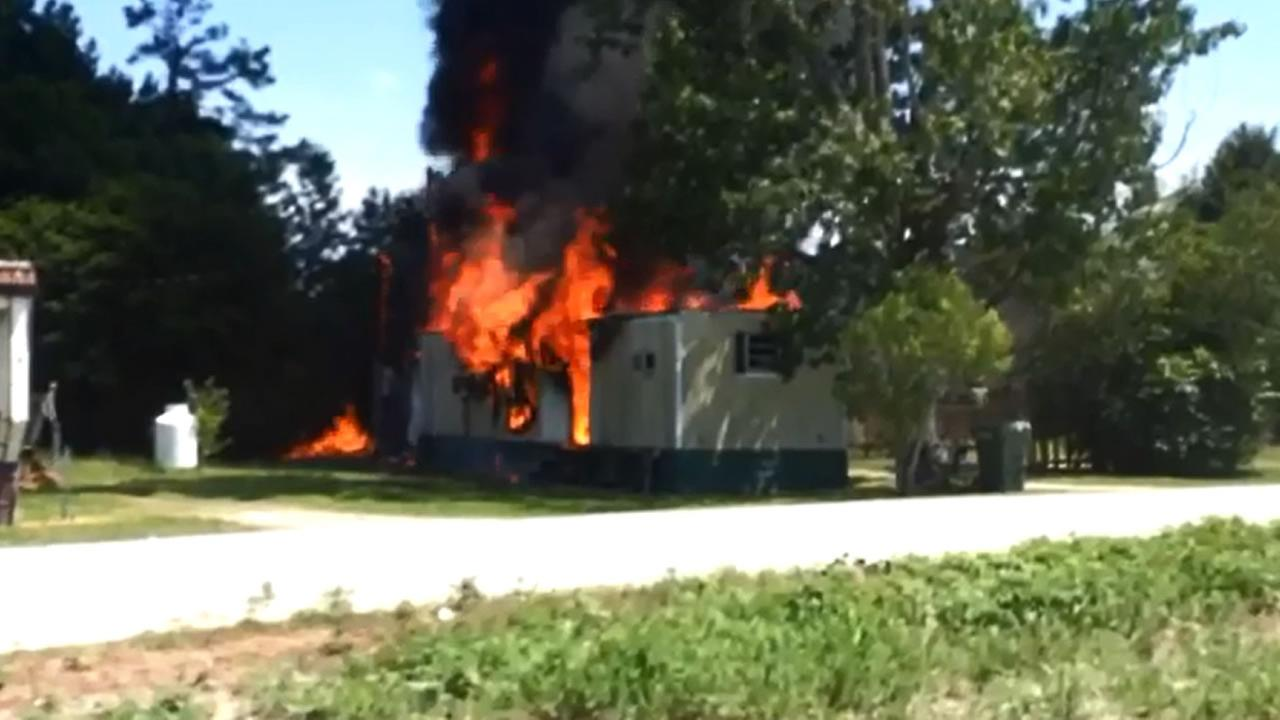 The mobile home was fully engulfed in flames when firefighters arrived