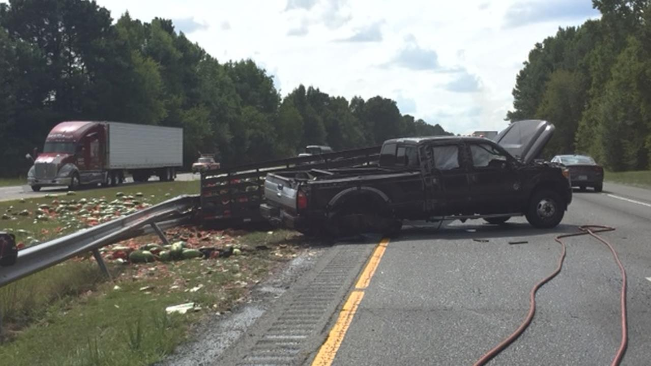 Truck hauling watermelons crashes on I-95