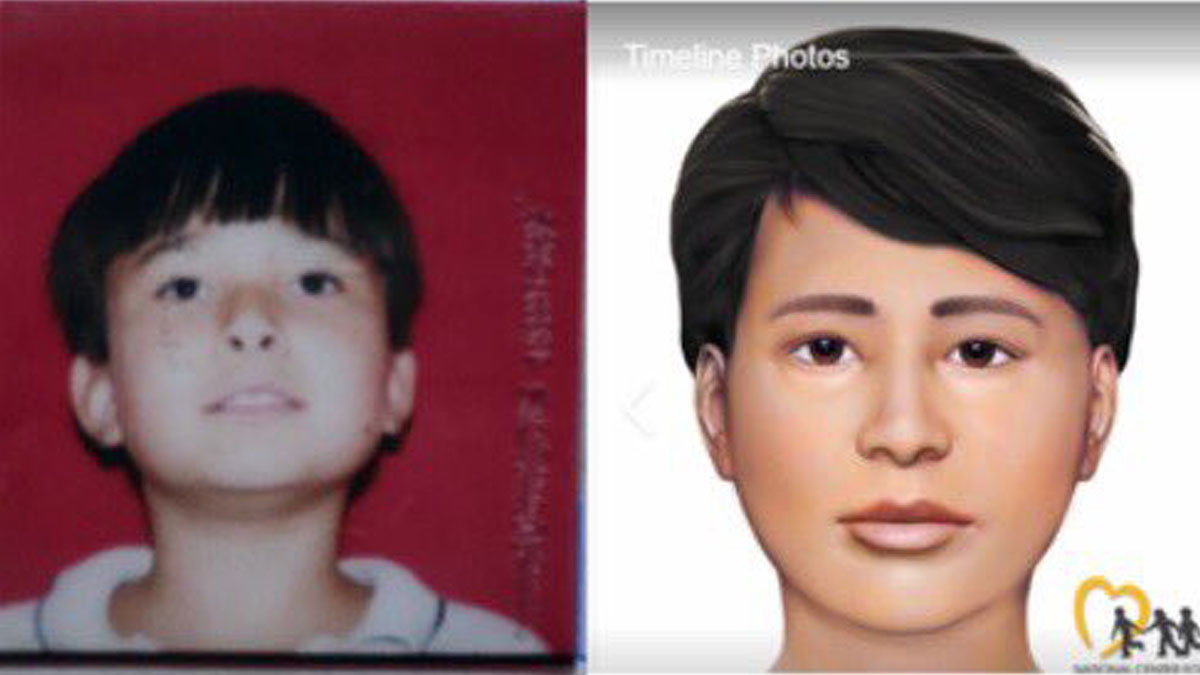 Robert Bobby Adam Whitt before he went missing in 1998 and what he wouldve looked like today (Source: National Center for Missing and Exploited Children)