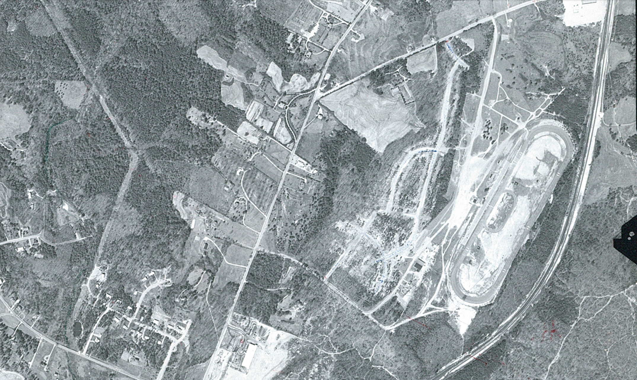 Birds eye view of what Raleigh Speedway looked like in the 1950s