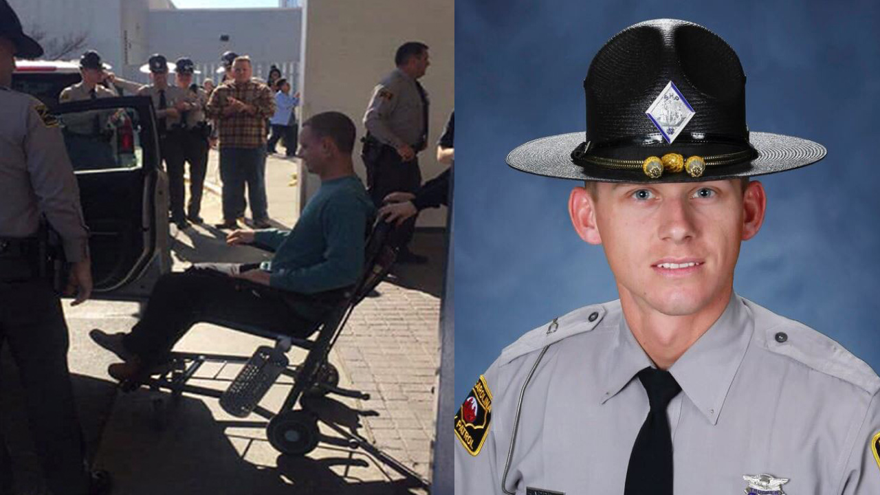 Trooper Daniel Harrell leaves hospital (Source: North Carolina Troopers Association)