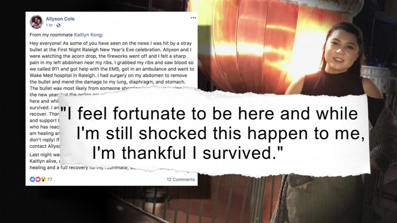 Woman thankful to survive downtown Raleigh shooting during New Years Eve festivities.