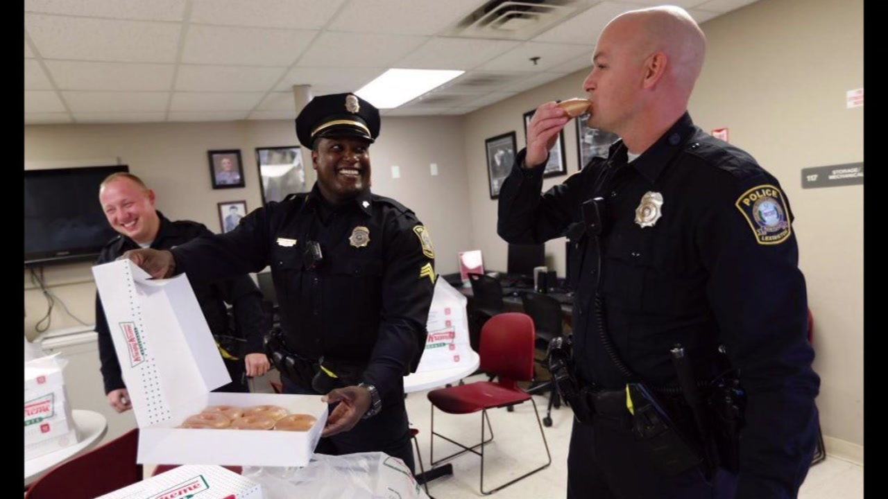 Krispy Kreme delivers to Louisville police officers.
