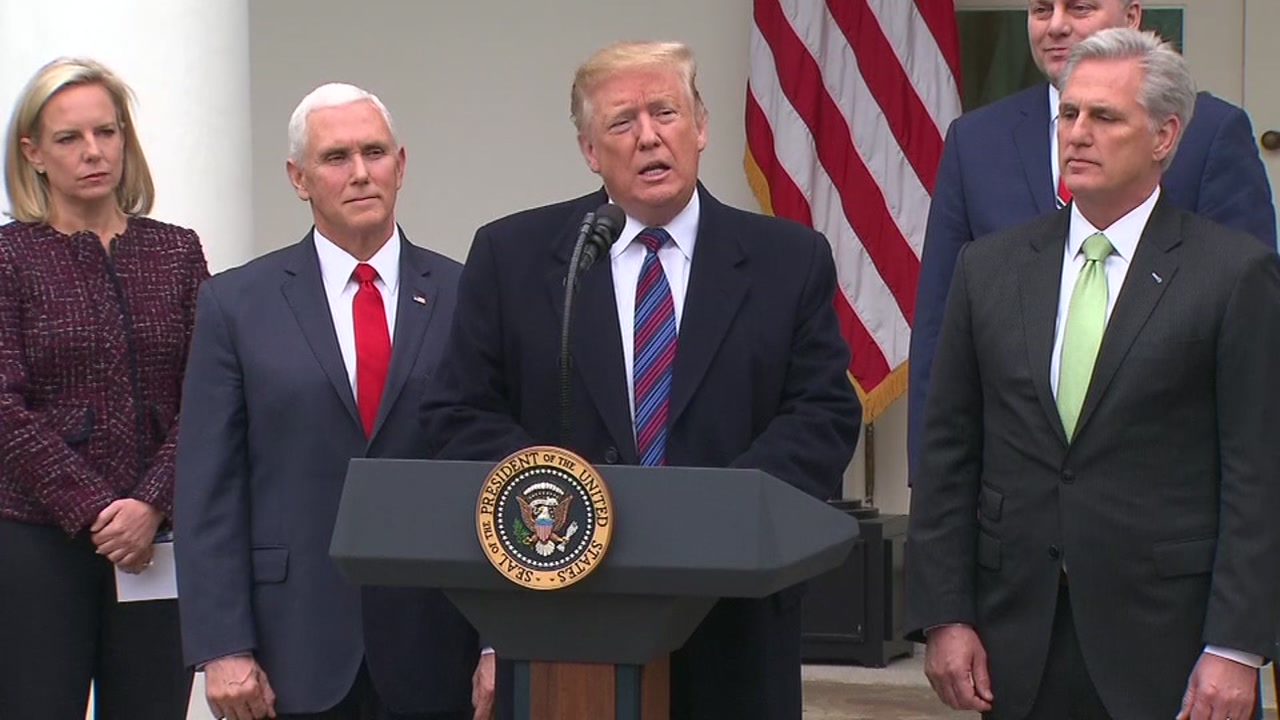 President Trump speaks after meeting with congressional leaders on the government shutdown