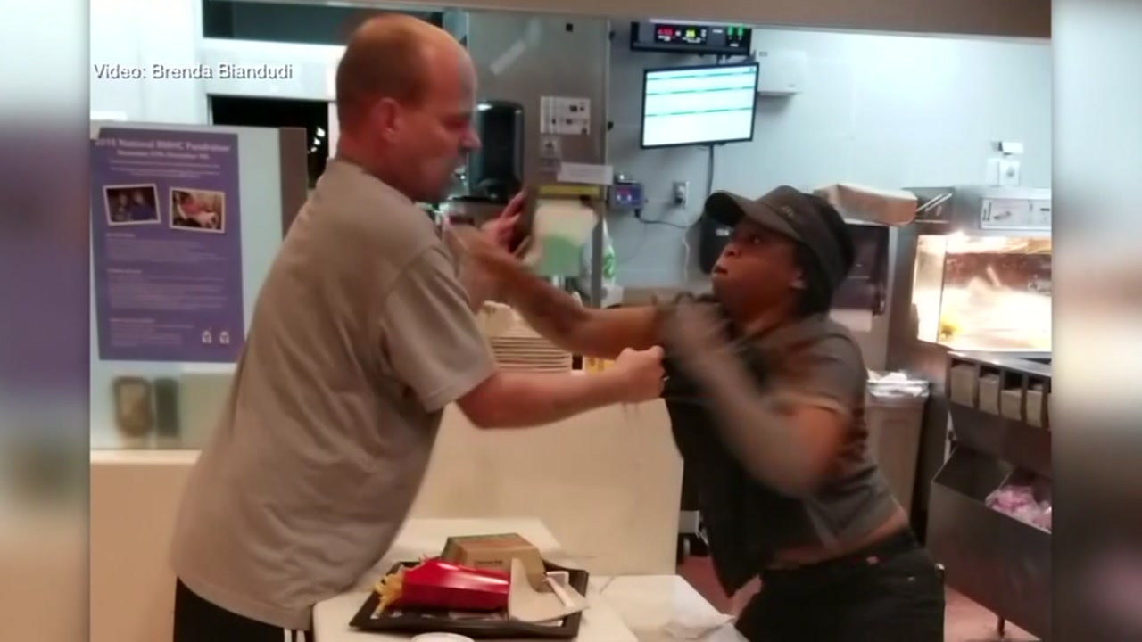 A McDonalds worker speaks out after a customer attacked her during a brawl that went viral.