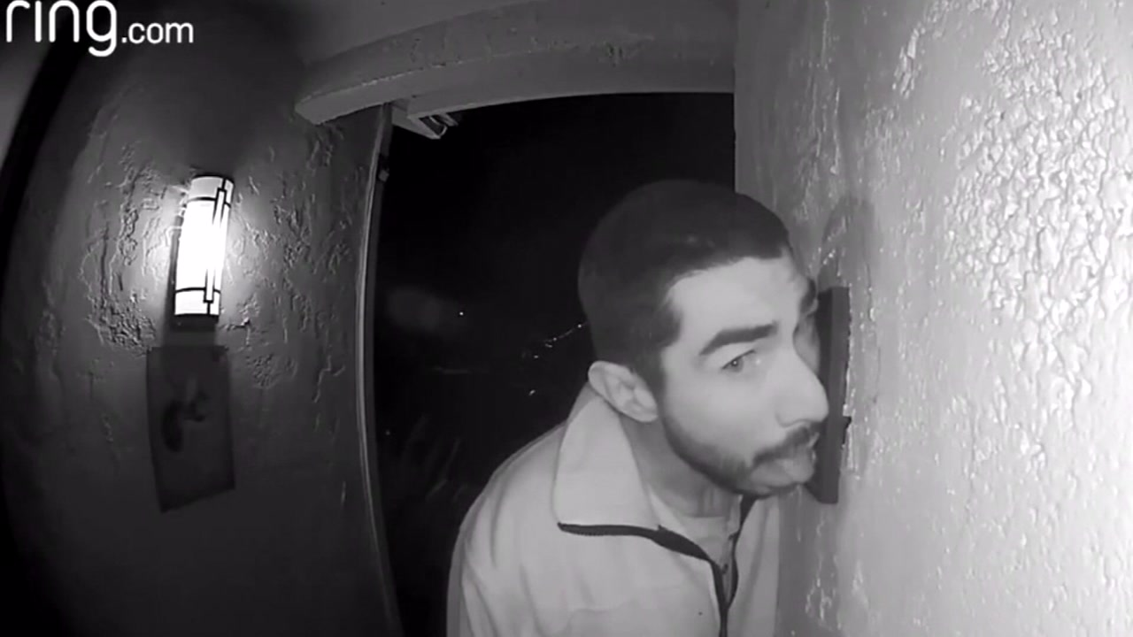 Police are trying to track down a man who spent three hours licking a doorbell at a California home.