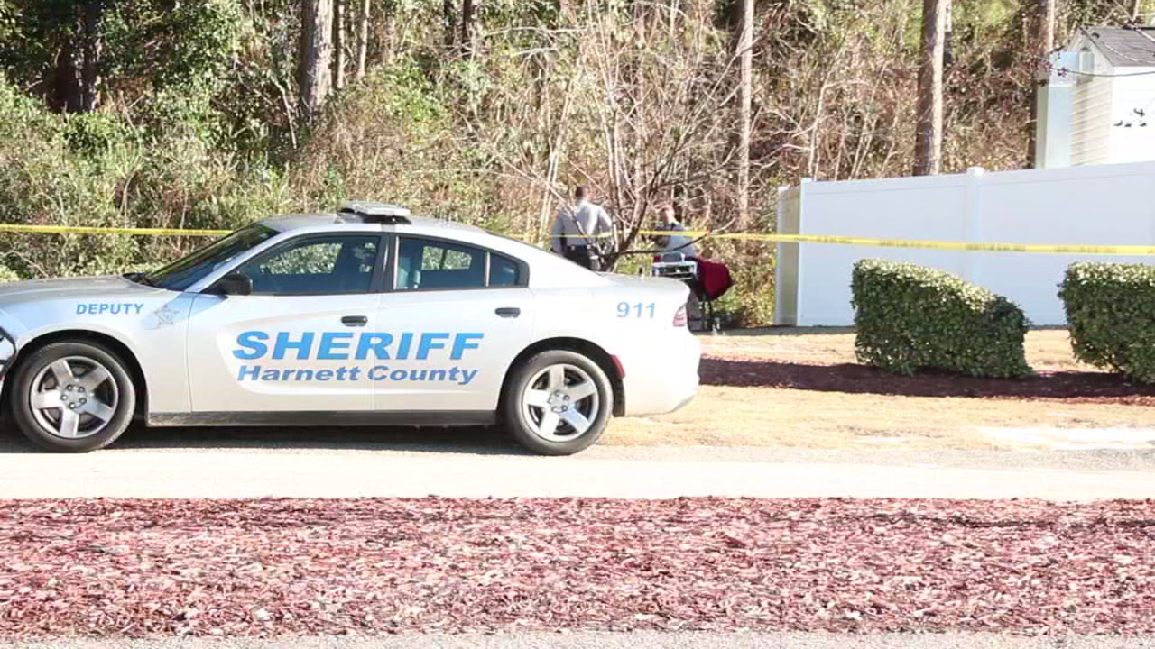 A landscaping crew found a body in a wooded area in Harnett County around noon Wednesday.
