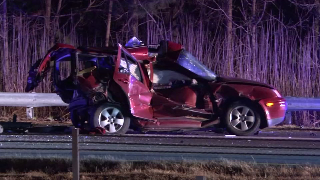 This red Volkswagen was struck by another vehicle that was speeding at more than 100 mph.