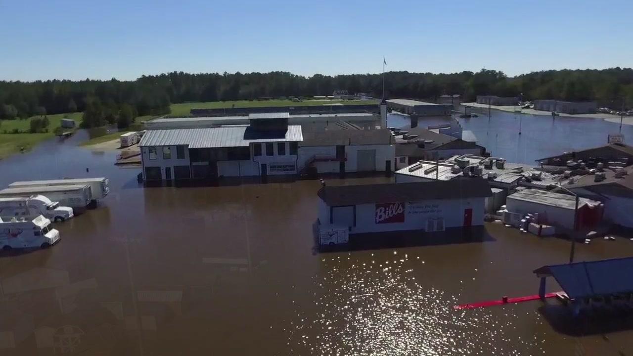Drone video shows Bill Ellis Barbecue under water after Hurricane Matthew in Oct. 2016.