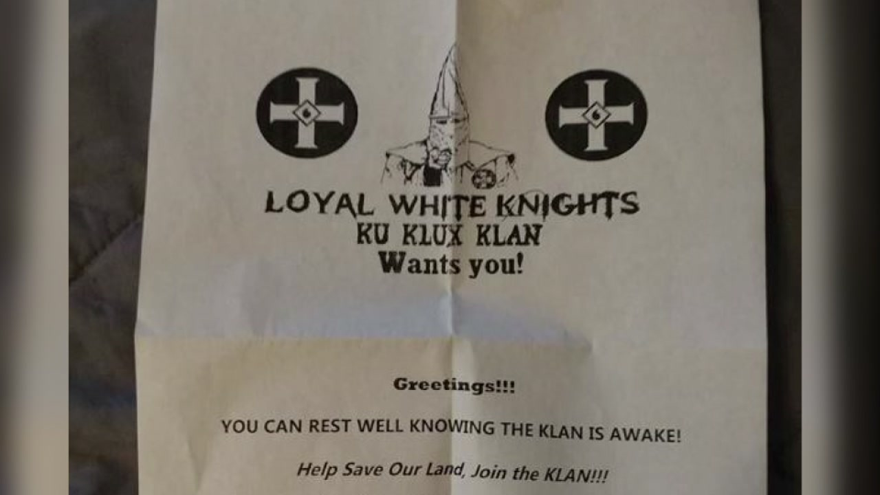 Asheville police are investigating after a man said he found a KKK recruitment flyer on his lawn on Martin Luther King Jr. Day.