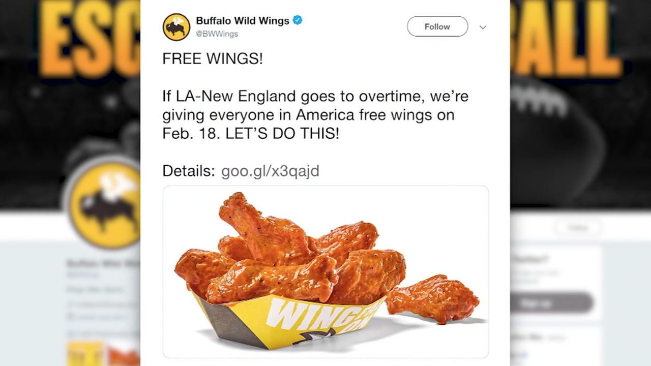 Buffalo Wild Wings is promising everyone in America a free snack-sized portion of wings if Super Bowl LIII goes into overtime.