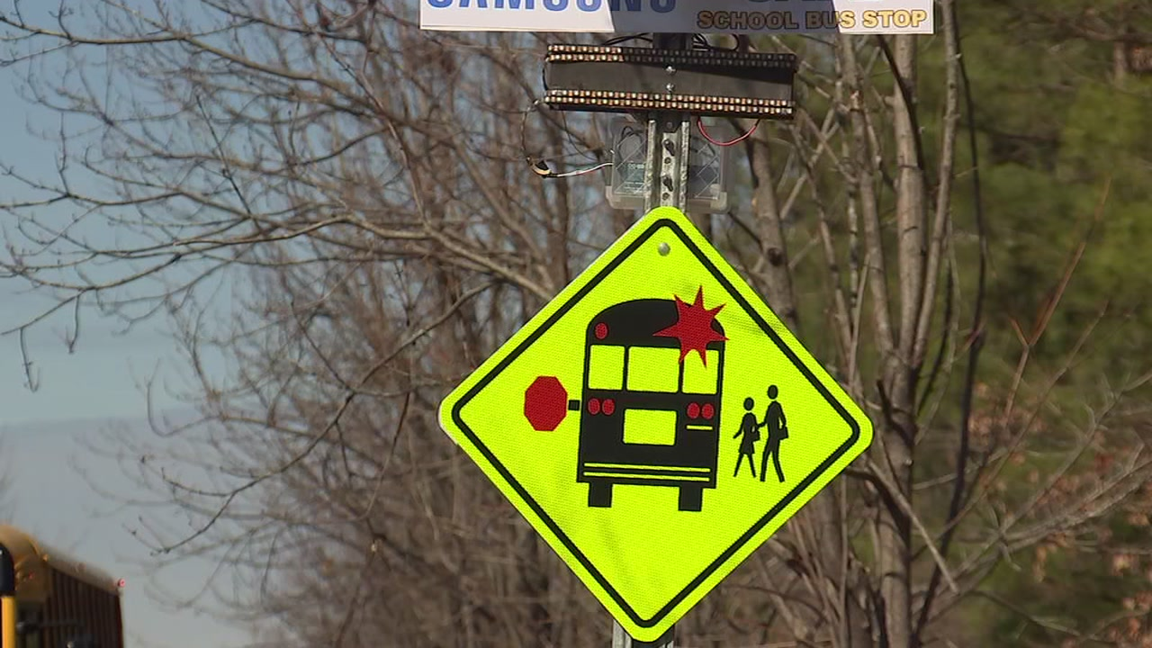 Students at Holly Grove Middle School designed a bus stop sign that uses technology to activate flashing lights to alert when a bus is 300 feet from the stop.
