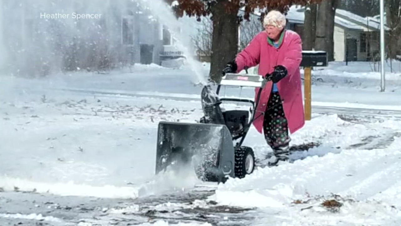 An 82-year-old woman is taking the internet by storm after photos of her using a snowblower during a winter storm went viral.