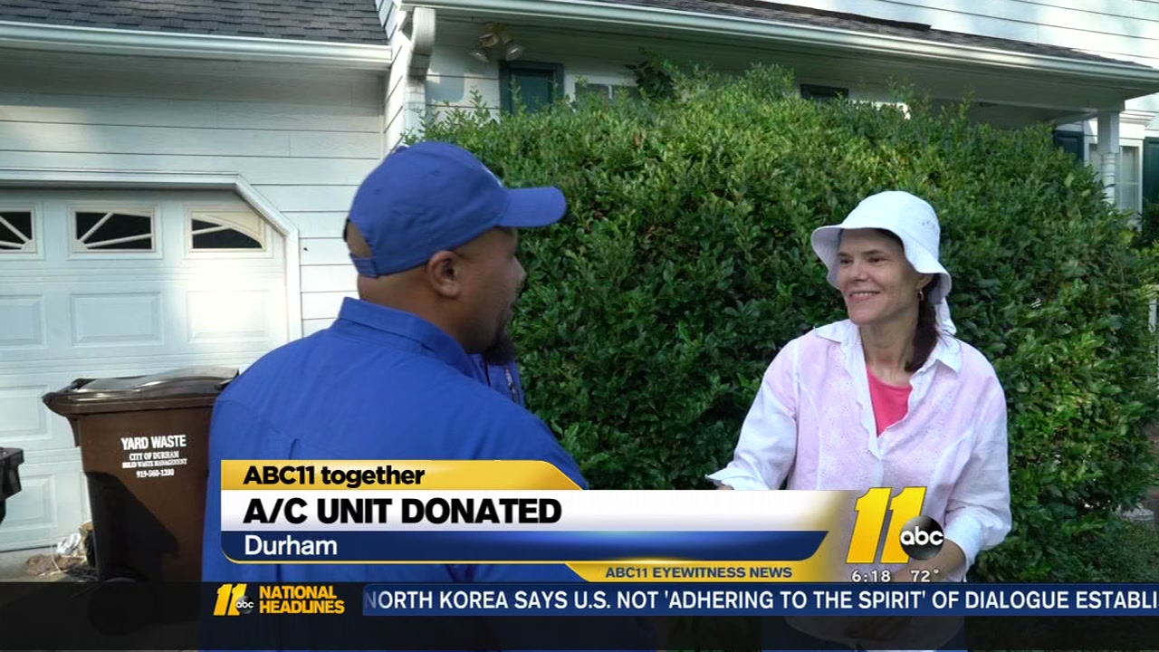 HVAC unit donated to Durham woman.