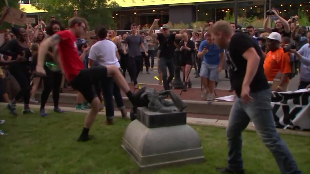! year ago protestors pulled down the confederate staute at the Durham County Courthouse