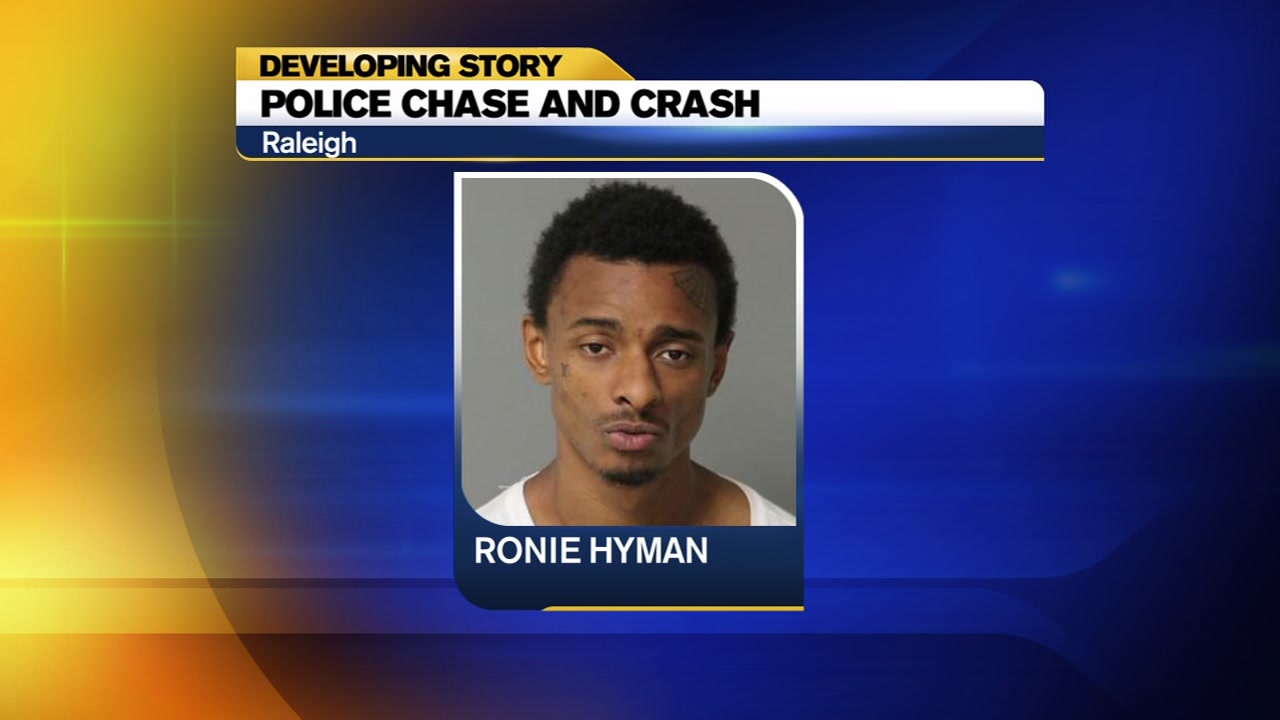 Raleigh police have arrested and charged the man they said led police on a pursuit Monday afternoon