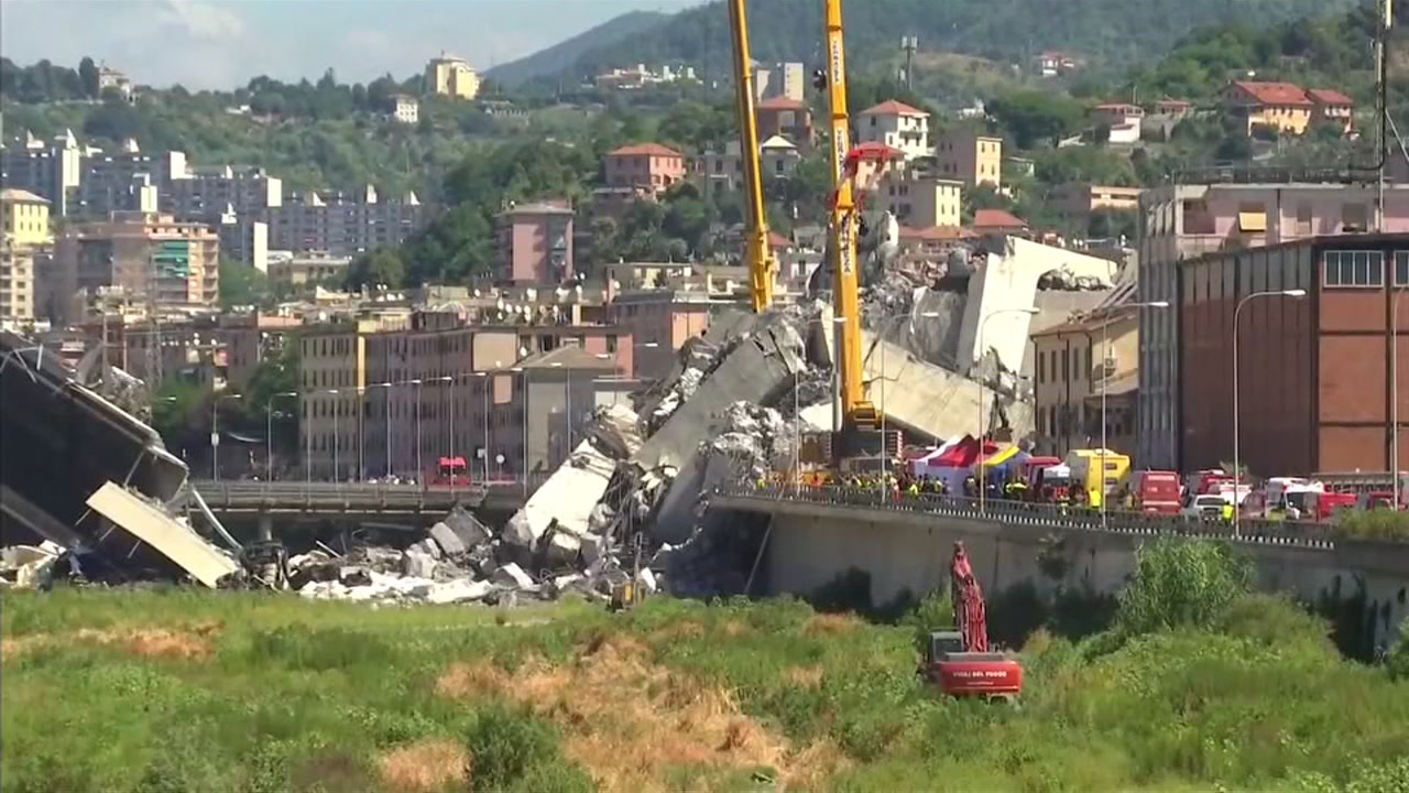 At least 37 are dead after a highway bridge collapse in Genoa.