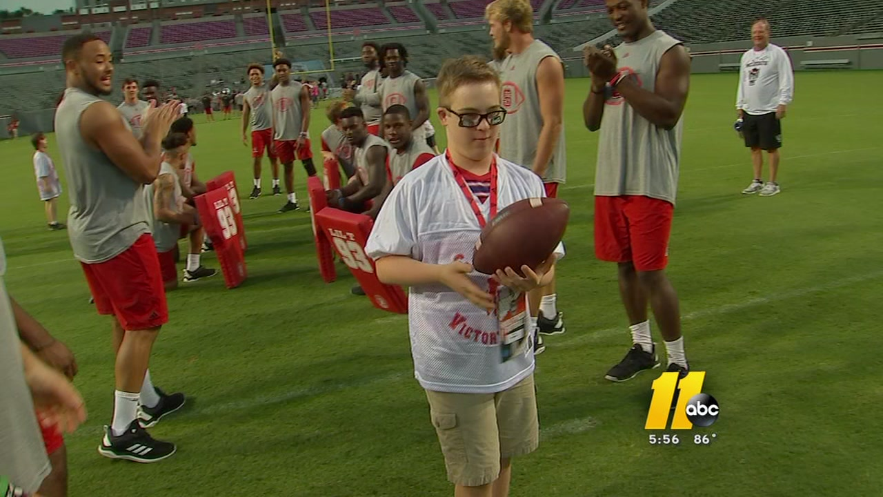 The N..C State football team welcomed some elite athletes onto the field.