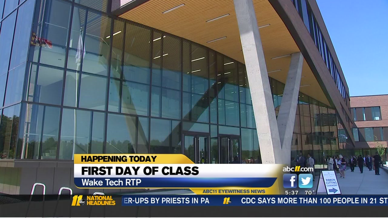 Its the first day of classes for tens of thousands of Wake Tech students, including those at Wake Techs shiny new campus in RTP.