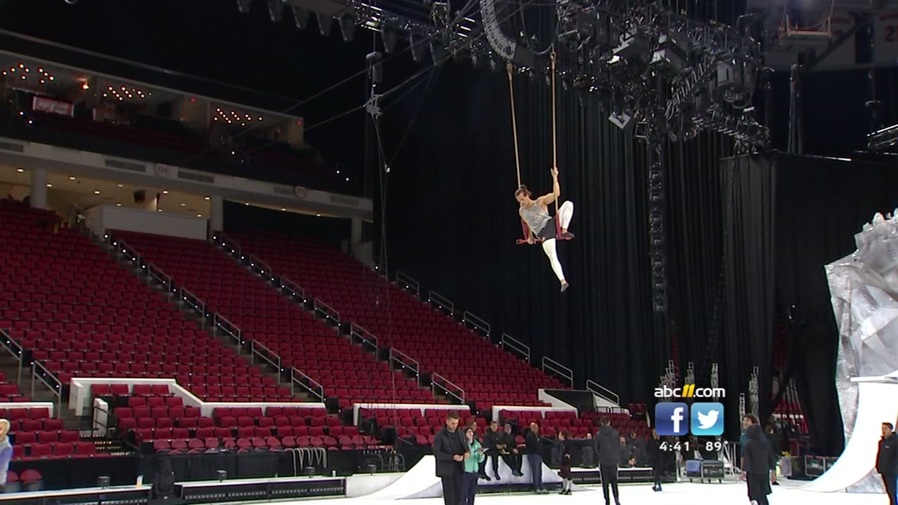 Acrobats fly high over ice at PNC Arena for Cirque du Soleil