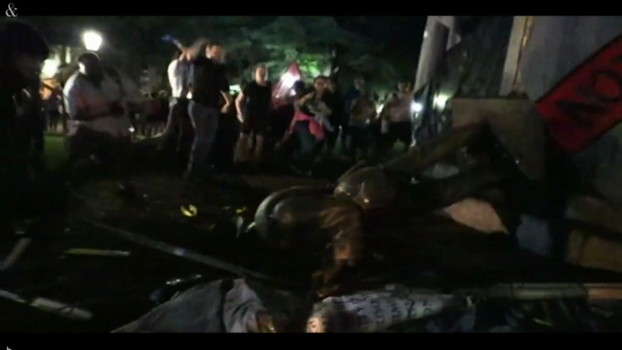 Protesters toppled UNCs Silent Sam Confederate statue Monday night.