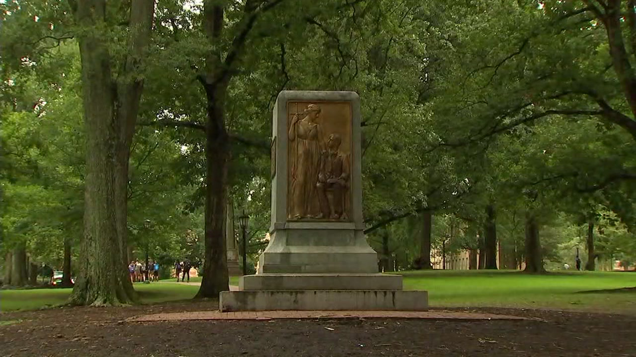 The pedestal is the only portion of the Silent Same statue left, which stood on campus grounds for more than a century.