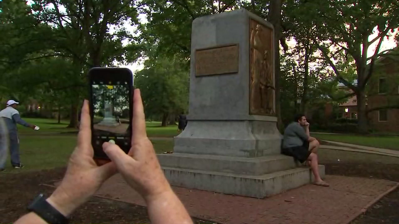 Visitors to the UNC campus had varied reactions to the now-statue-less monument.