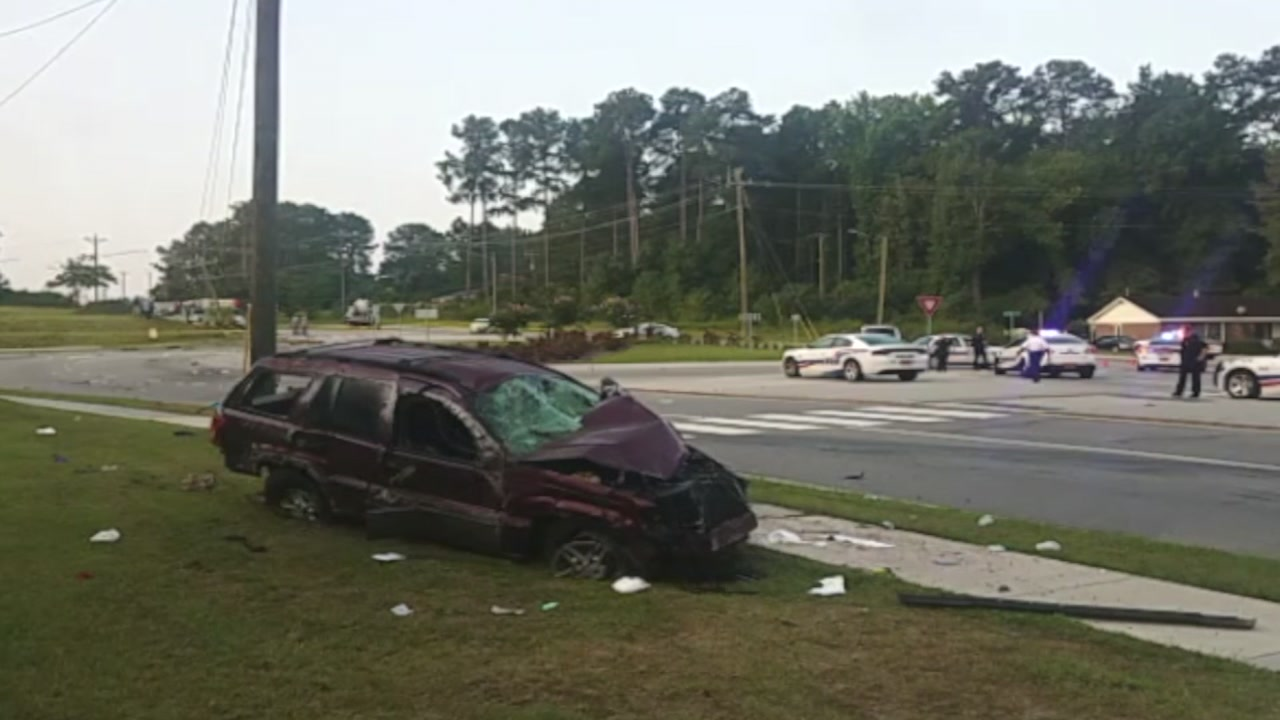 Authorities closed part of Glensford Drive Wednesday morning after a car chase ended in a crash.