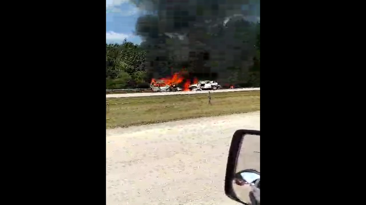 Raw video: Ron Sykes a retired Cumberland County sheriff's deputy, passed by the fiery wreck Wednesday.