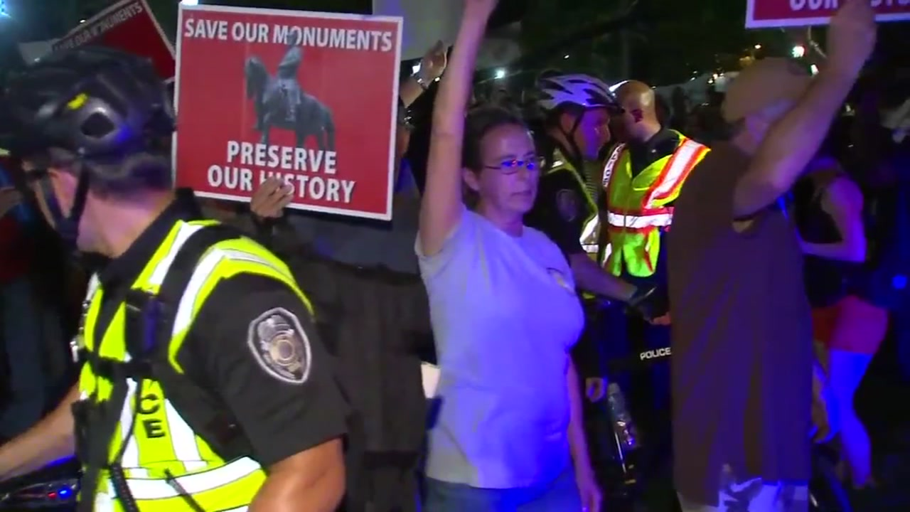 Three arrests made after dueling protests at Silent Sam.