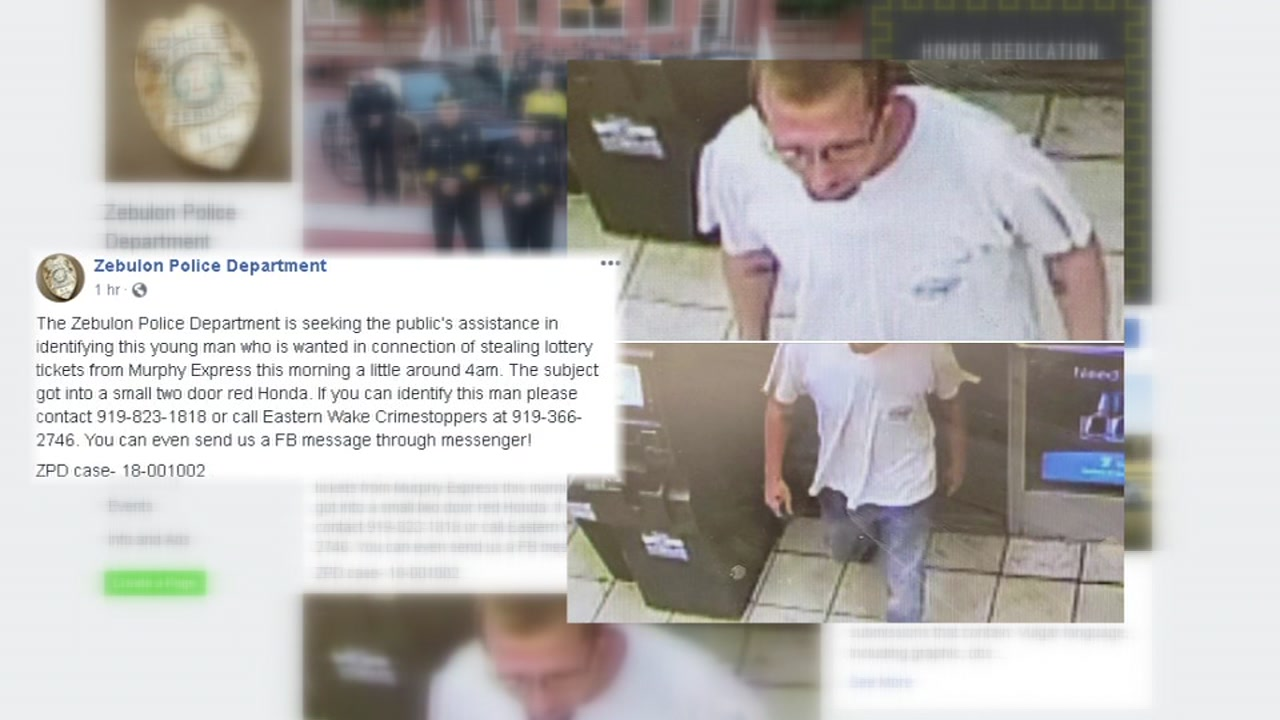 Zebulon police searching for man who stole lottery tickets from gas station