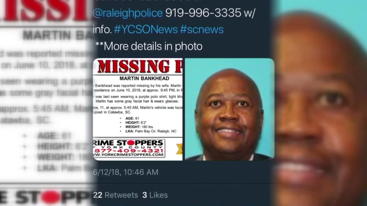 Missing Raleigh mans remains found in South Carolina