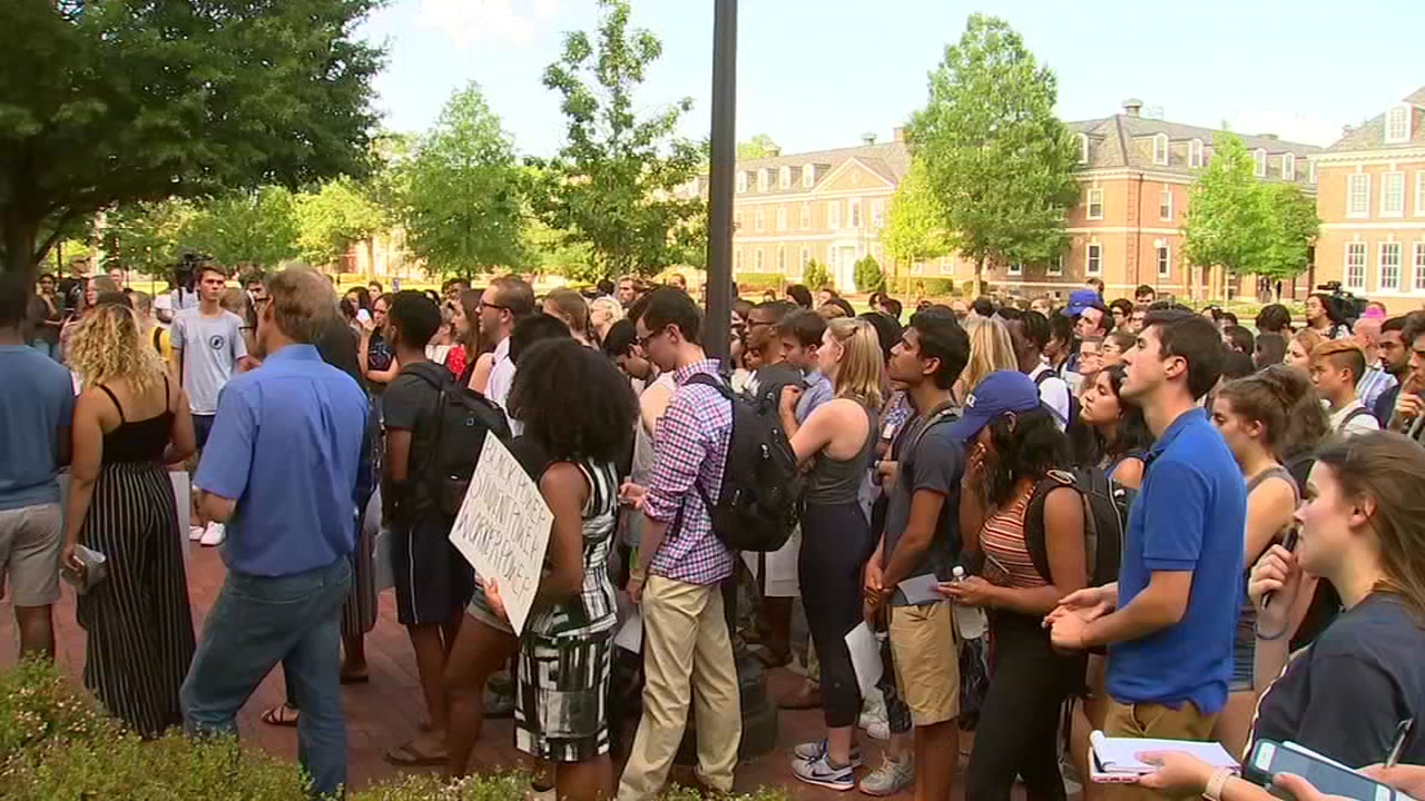Protesters call for Carr Building renaming at Duke.