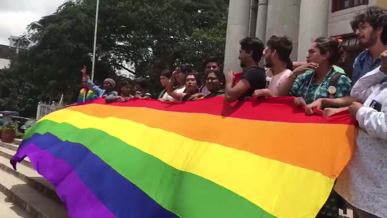 Raw footage of a celebration in India after  a top couty struck down a colonial-era law that made homosexual acts punishable