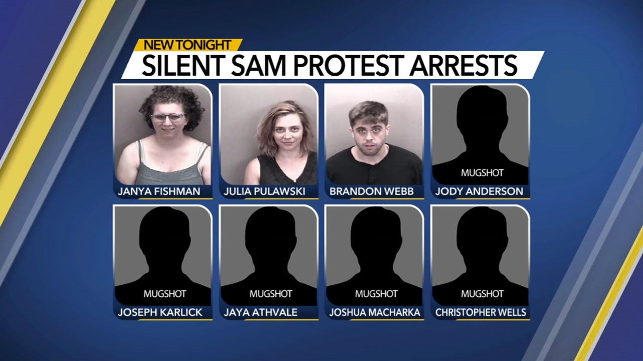 8 charged in Saturday Silent Sam protest