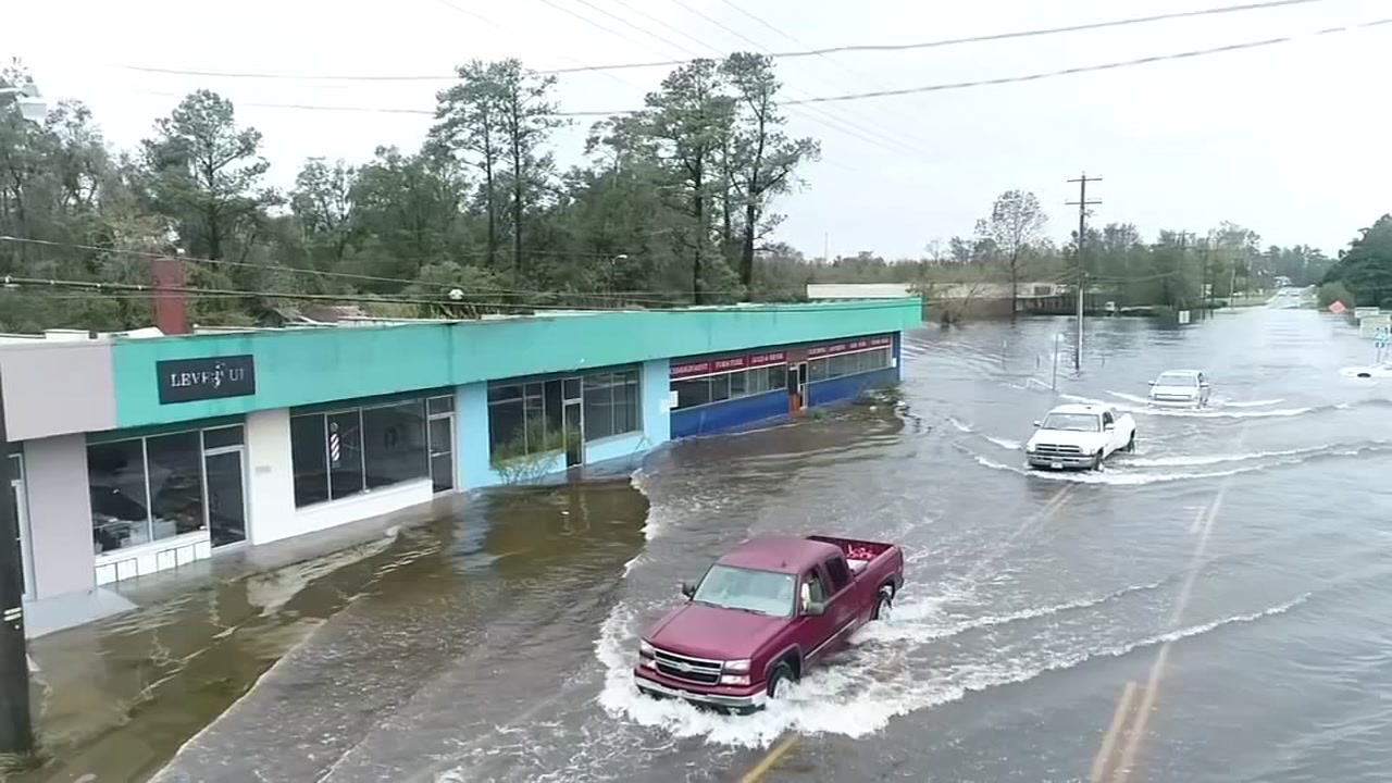 Drone11: Flood damage near Wilmington from Hurricane Florence