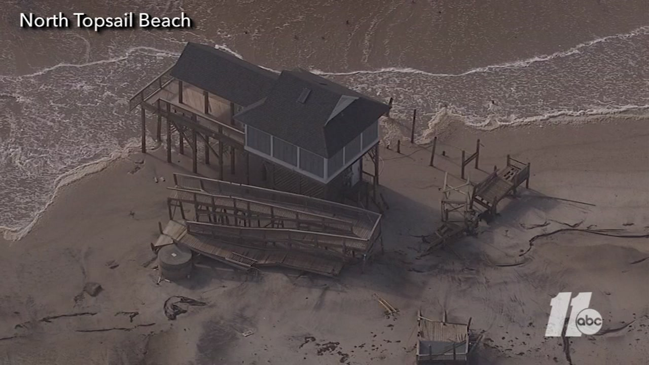 Aerial view of the damage on North Topsail Beach