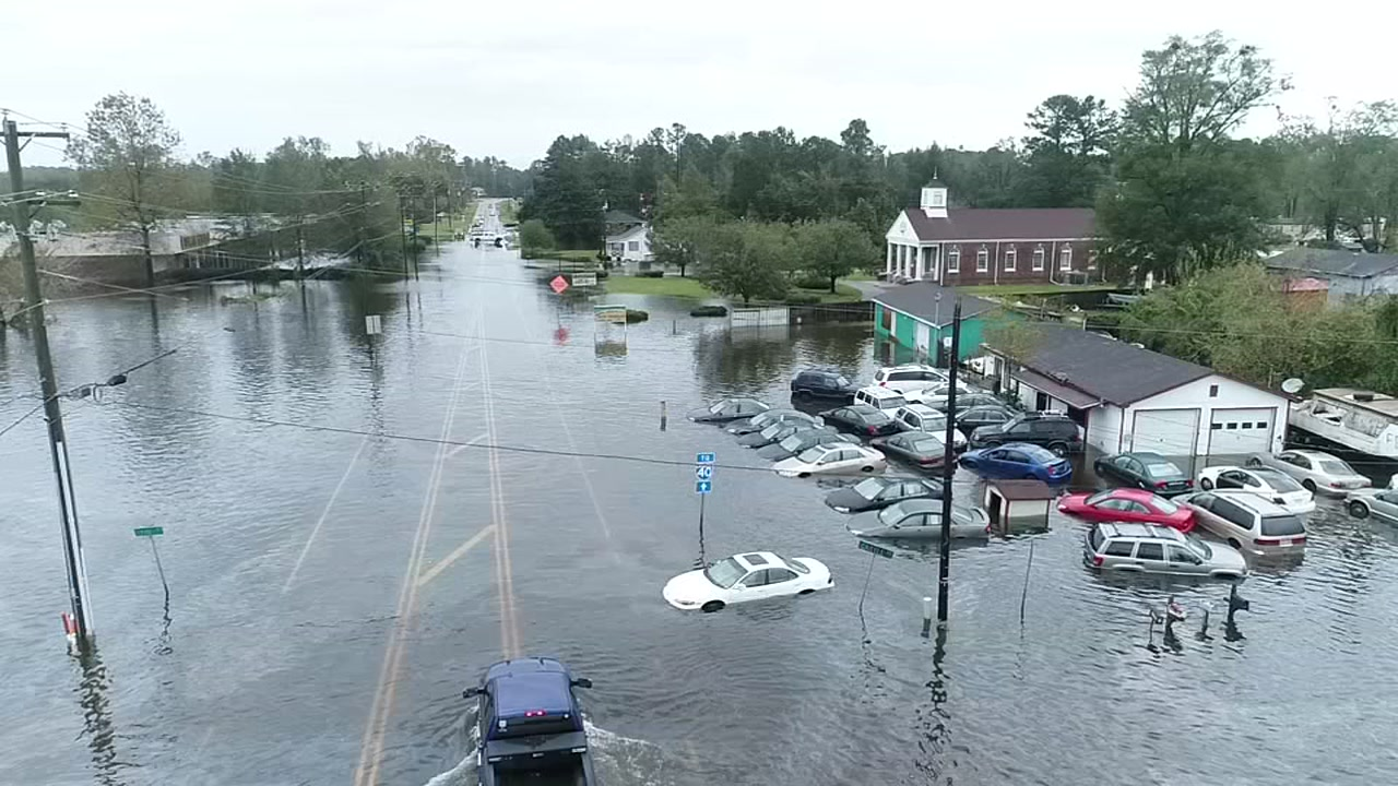 Raw drone footage of flooding near Wilmington